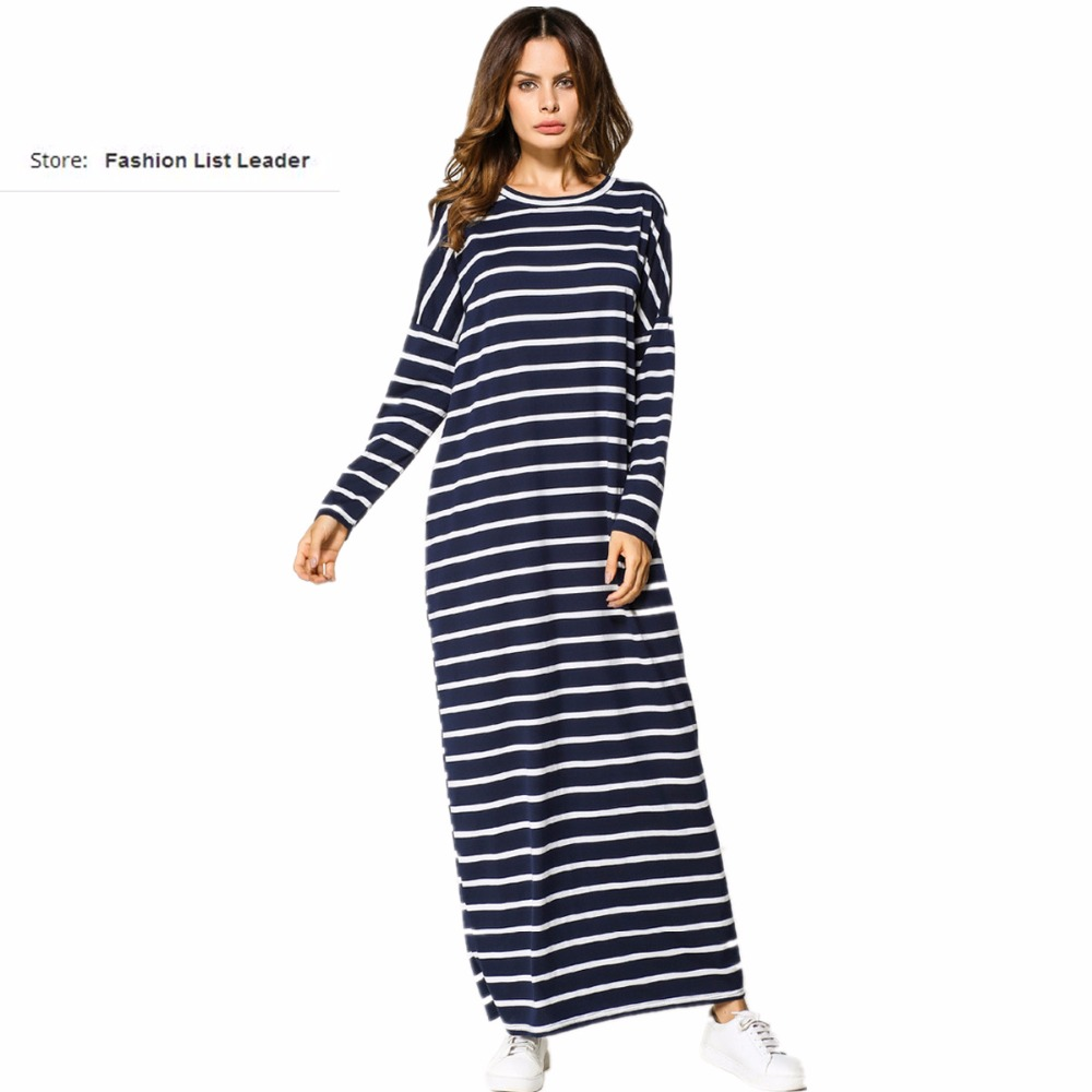 4XL Adult Muslim Abaya Arab Striped Stitching Bat Sleeve Jilbab Dubai Muslims Plus Size Dress Islamic Dress Wj1975 Drop Shipping