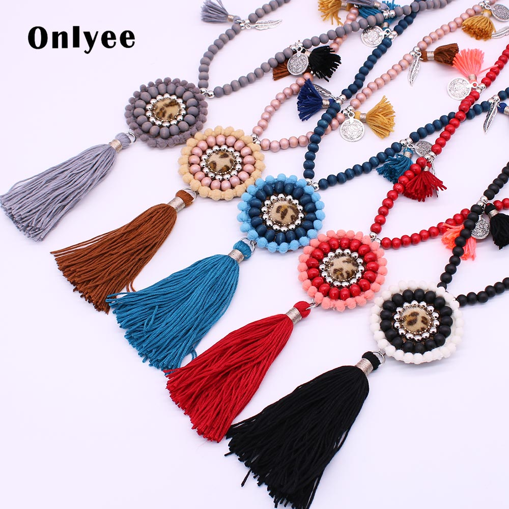 Onlyee Wood Beads Tassel Long Necklace Ethnic Women Necklaces Jewelry Colorful Adjustable Bohemian Girl Party Gift AccessoryOnlyee Wood Beads Tassel Long Necklace Ethnic Women Necklaces Jewelry Colorful Adjustable Bohemian Girl Party Gift Accessory