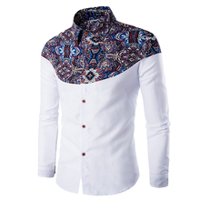 Люксовый Бренд Мужские Рубашки Платья 2016 Мода Цветочный Печатные С Длинным Рукавом Мужчины Рубашка Сорочка Homme Вскользь Стильный Camisas Hombre 2XL