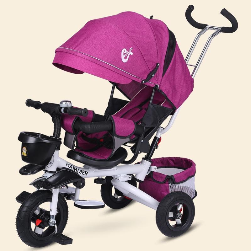 2018 nouveau bébé poussette tricycle pour enfants peut être plié à mensonge vers le bas pour s'asseoir sur un siège tournant livraison gratuite à Brésil