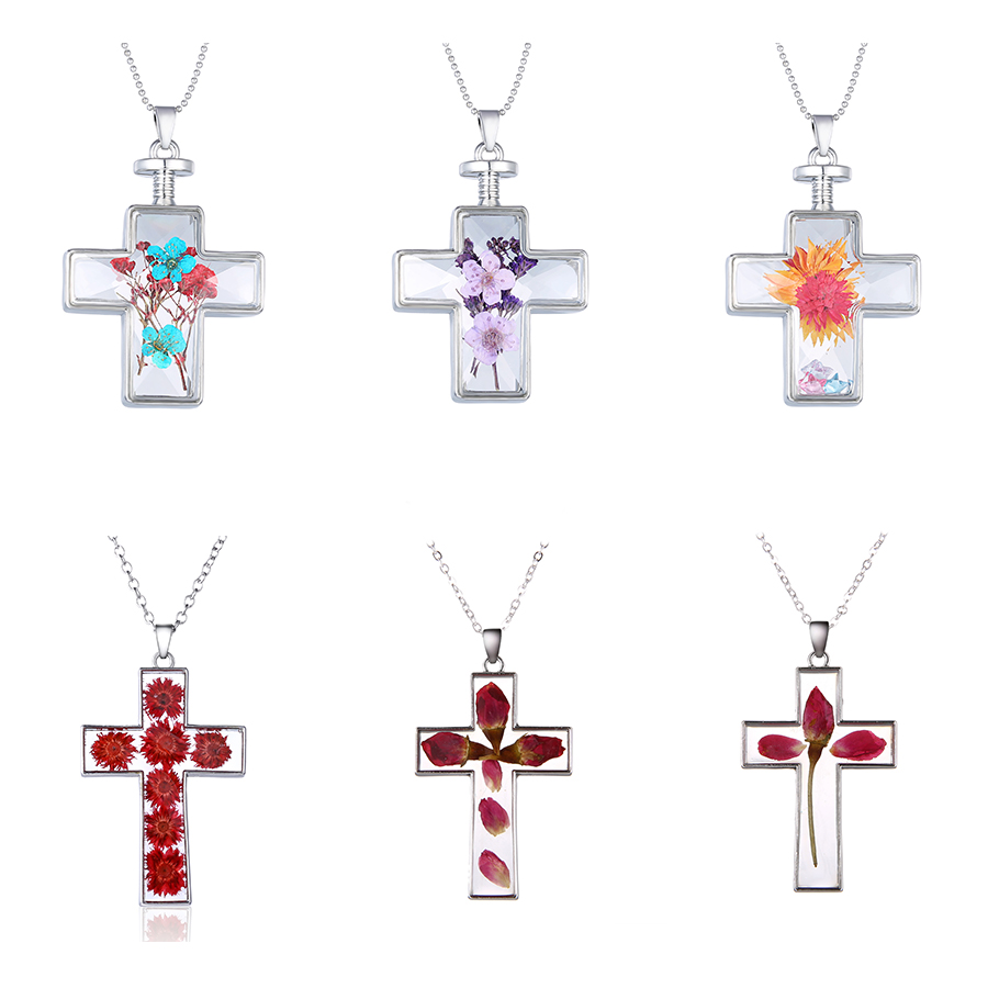 Rinhoo Cross Handmade Epoxy Natural Dried Flower Necklace Silver Chain Pendants Necklace For Women Fashion Simple Glass Jewelry