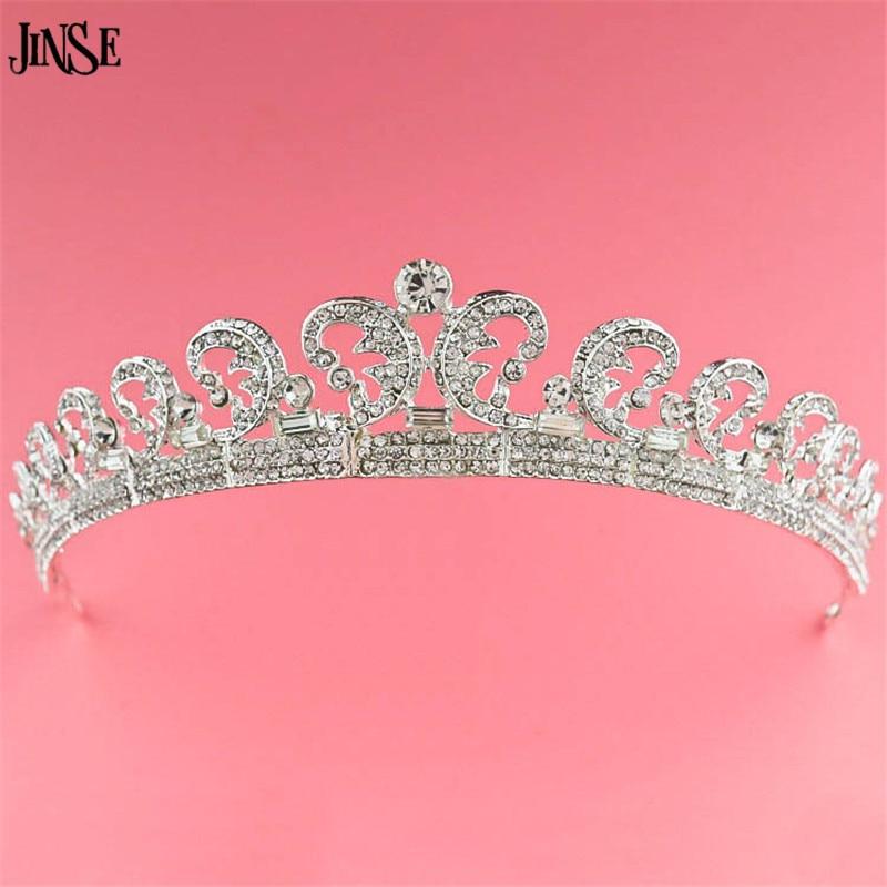JINSE Top Qualité Luxe Mariée Classique Européenne Strass Cristal De Mariée Cheveux Couronne Diadème De Mariage Robe Accessoires CR079