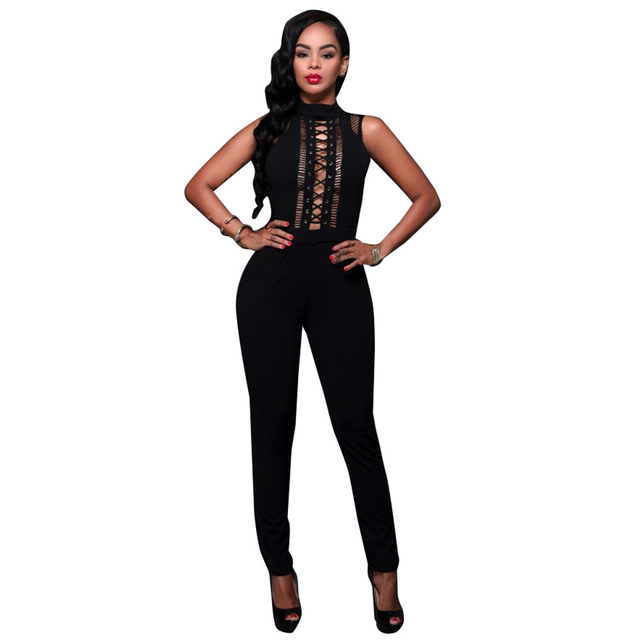 New Arrival Summer 2016 Black Elegant Jumpsuit Sleeveless Stand Long Bodysuit Hollow Out Criss Cross Sexy Jumpsuits And Rompers