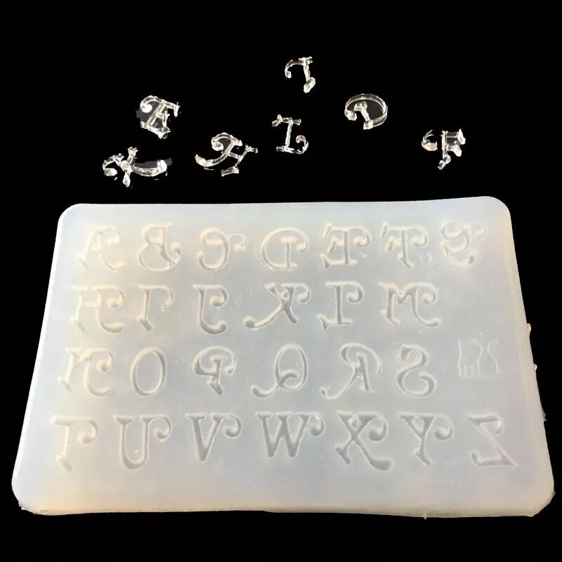 1pcs Transparent English Letters Alphabet  Punctuation Letter Epoxy Resin Silicone Mold Pendant 3D Mould Decorating Craft Tools