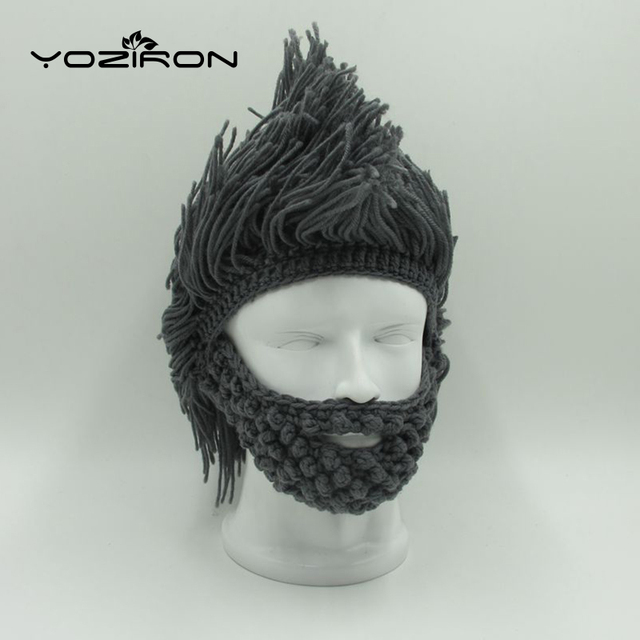 Hot New Handmade Novelty Beard Winter Hats For Men Adult Beanie Hats Ski  Mask Knitted Hats Women Caps Halloween Gifts 4867097dee5