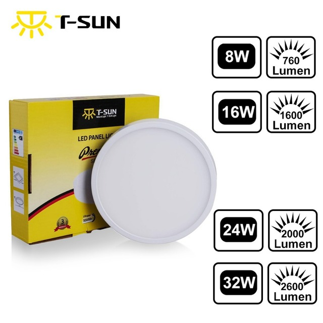 T-SUNRISE LED Panel Light Ceiling Lamp Downlight LED Surface Mounted Recessed Ceiling Downlight Panel Round for Living Room