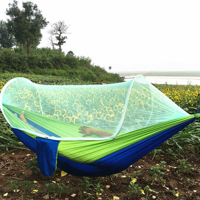 Открытый Кемпинг портативный гамак с москитной сеткой парашют тканевый гамак кровати Висячие качели спальная кровать