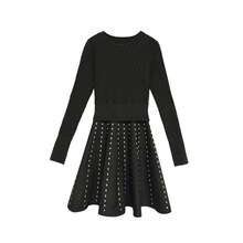 Kenvy бренд Женская мода высокого класса люкс Демисезонный темперамент трикотажное платье с длинными рукавами