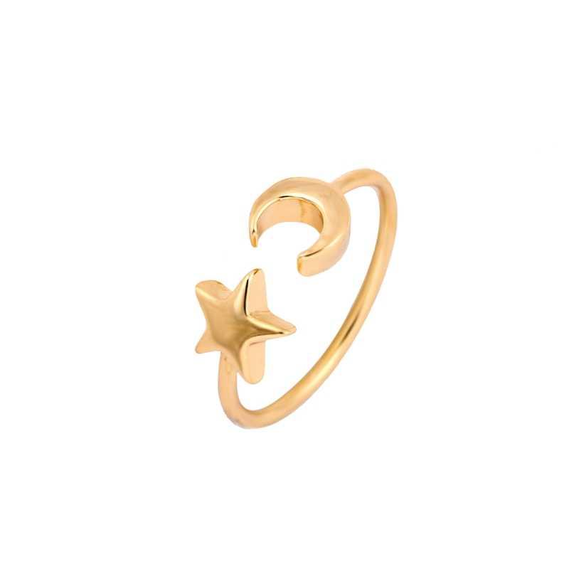 Shuangshuo 2019 Neue Fashon Gold und Rose Gold Farbe Einstellbar Crescent Mond und Winzige Sterne Ringe für Frauen JZ161