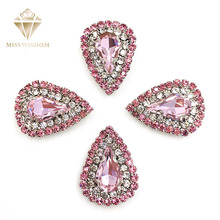 10pcs/pack Pink strass rhinestones Double row chain water drop sew on rhinestones crystal buckle Diy jewelry accessories цена 2017