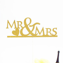 1pc Multi Colors MR & MRS Love Wedding Cake Flag Topper Flags For Birthday Anniversary Party Baking Decor