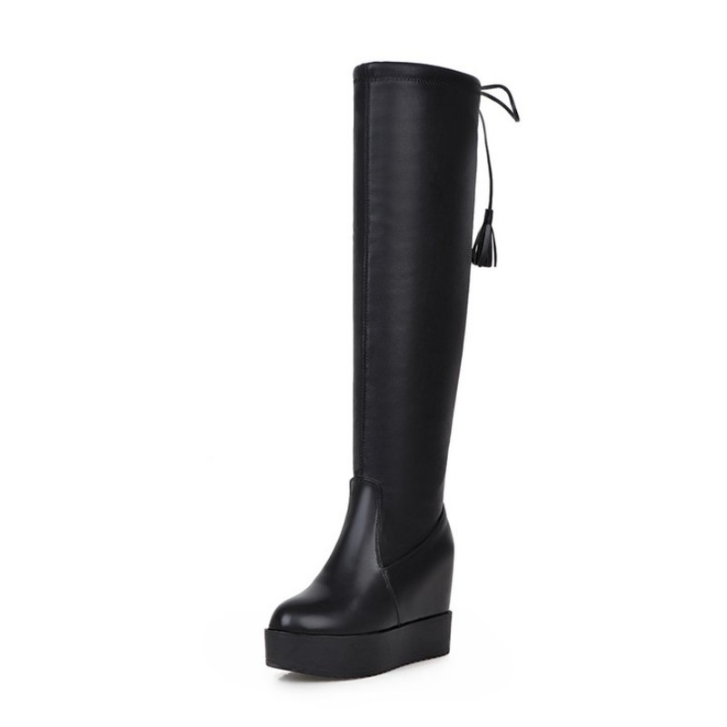 Popular Black Wedge Boots Knee High-Buy Cheap Black Wedge Boots ...