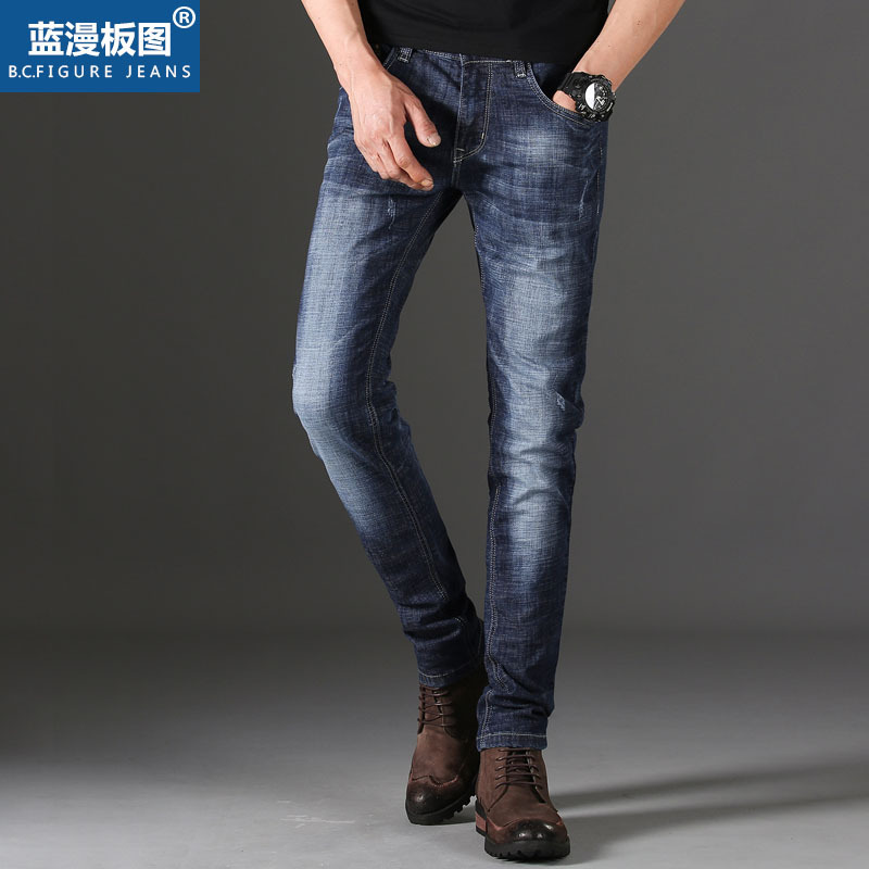 The new 2018 men straight jeans casual jeans The four seasons cotton stretch A pair of jeans
