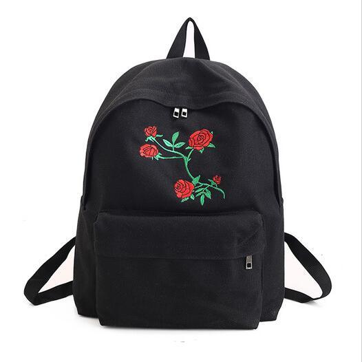 Kobieta Brezentowy Plecak śliczne Moda Rose Hafty Kobiet Torby Podróżne Plecaki Szkolne Dla Nastolatków Mochilas Plecak Torby Szkolne Canvas Backpack Cute Embroidery Backpackscanvas Backpack Aliexpress