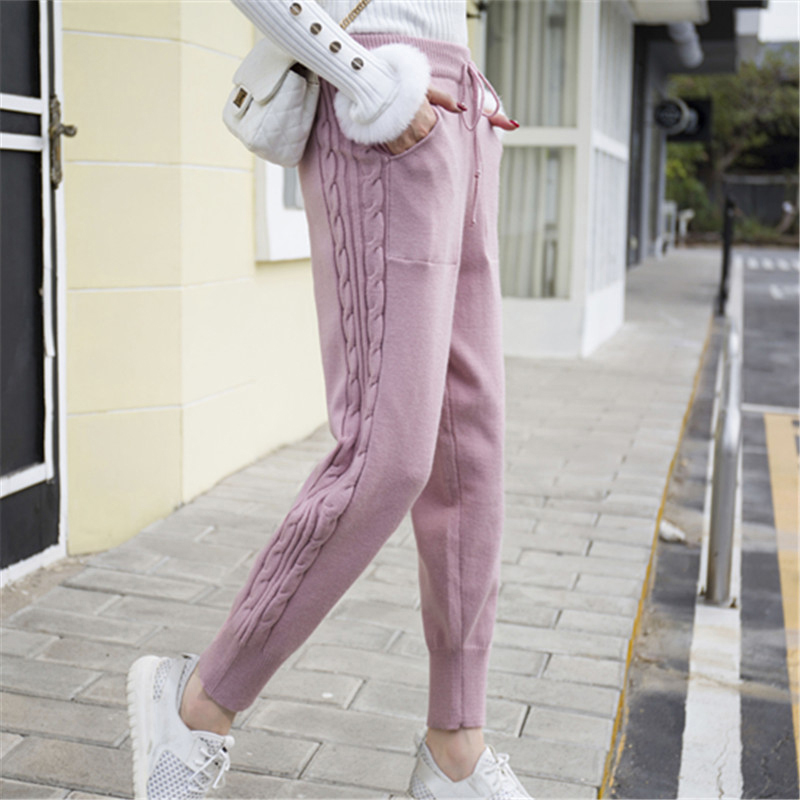 Winter Lace up Elastic Women Trousers Side Twist Loose Pants Warm Thicken Stretchable Knitted Pantalones Mujer 5 Colors 2018