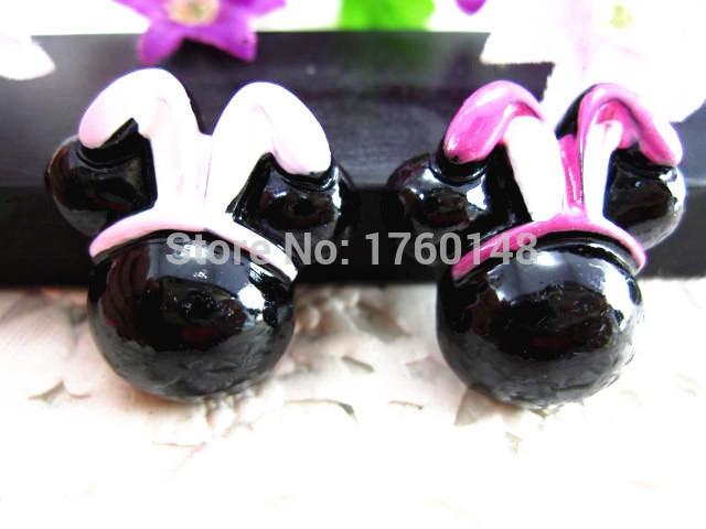 Mickey Easter Bunny Figurine Flat Back Resin DIY Holiday Wedding Decoration Hand Craft  Headwear Hair Accessories