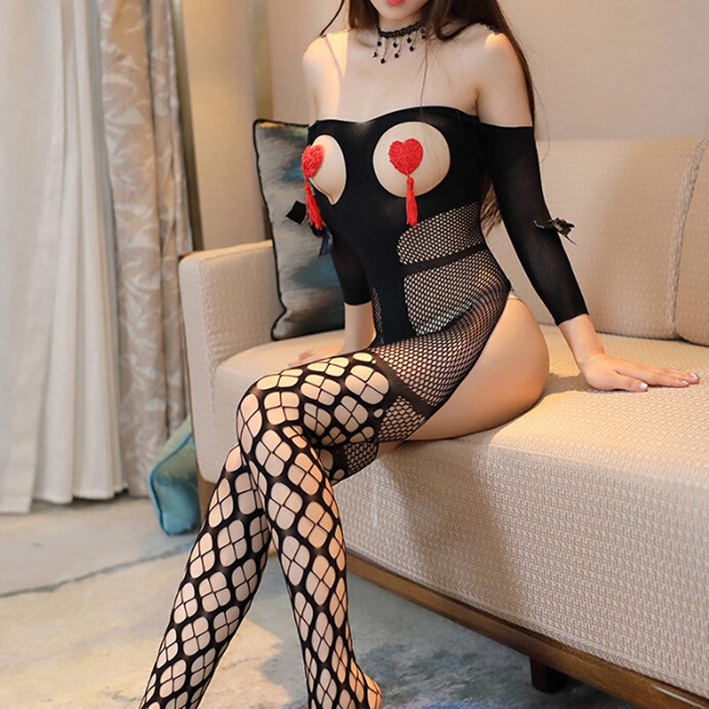 Fishnet Open Bust Bowknot <font><b>Sexy</b></font> Hot <font><b>Erotic</b></font> Sleeved Bodystocking <font><b>Lingerie</b></font> Babydoll Teddy Stripper Lenceria Porn <font><b>Latex</b></font> Catsuit image