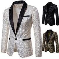 Mens Slim Fit Floral Suit Blazer   2018 Brand New Autumn Male Sequin Blazer Jacket Man Fashion Patchwork Masculine Blazer