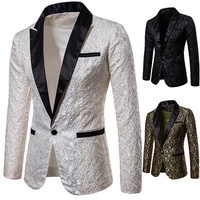 Mens Slim Fit Floral Suit Blazer | 2018 Brand New Autumn Male Sequin Blazer Jacket Man Fashion Patchwork Masculine Blazer