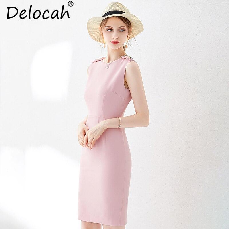 Delocah femmes été rose mince robe piste mode sans manches recueillir taille élégante décontracté célébrité fête Midi robes 2019 - 4