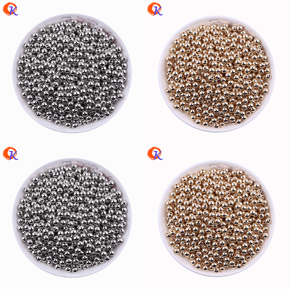 Fashion 5-8MM DIY Jewelry Accessories 1000Pcs/Lot Gold Silver Color Smooth Round Plastic Spacers Beads CCB Beads Jewelry Making