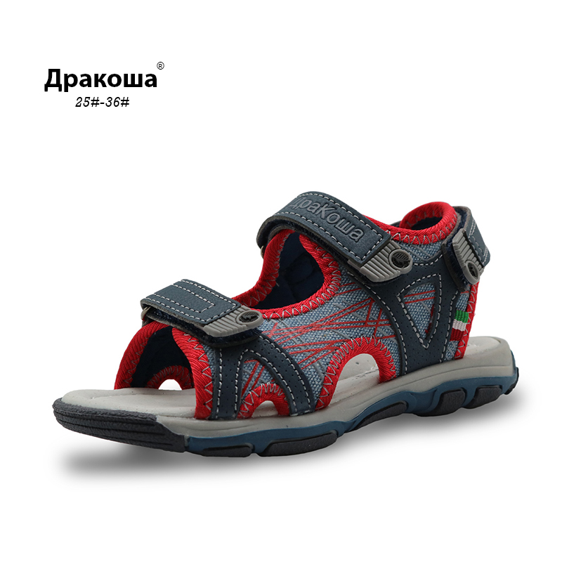 Apakowa Little Kids Summer Beach Sandals Open Toe Boys Sports Sandal Light-weight Sole Quick Drying Slingback Junior Sandals