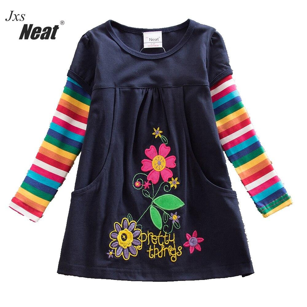 Dress up diary baju pelaut - 2017 Retail Baru Gadis Gaun Print Rainbow Panjang Lengan Anak 100 Katun Putri Pakaian Anak
