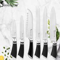Juego de cuchillos de cocina de alto carbono Sowoll cuchillos de acero inoxidable japoneses Chef rebanando pan Santoku cuchillo de cocina
