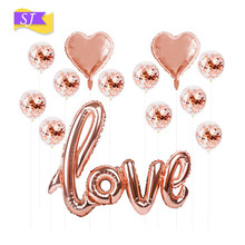 Wedding Party Decorations Foil Balloon Package Rose Gold LOVE Sequin