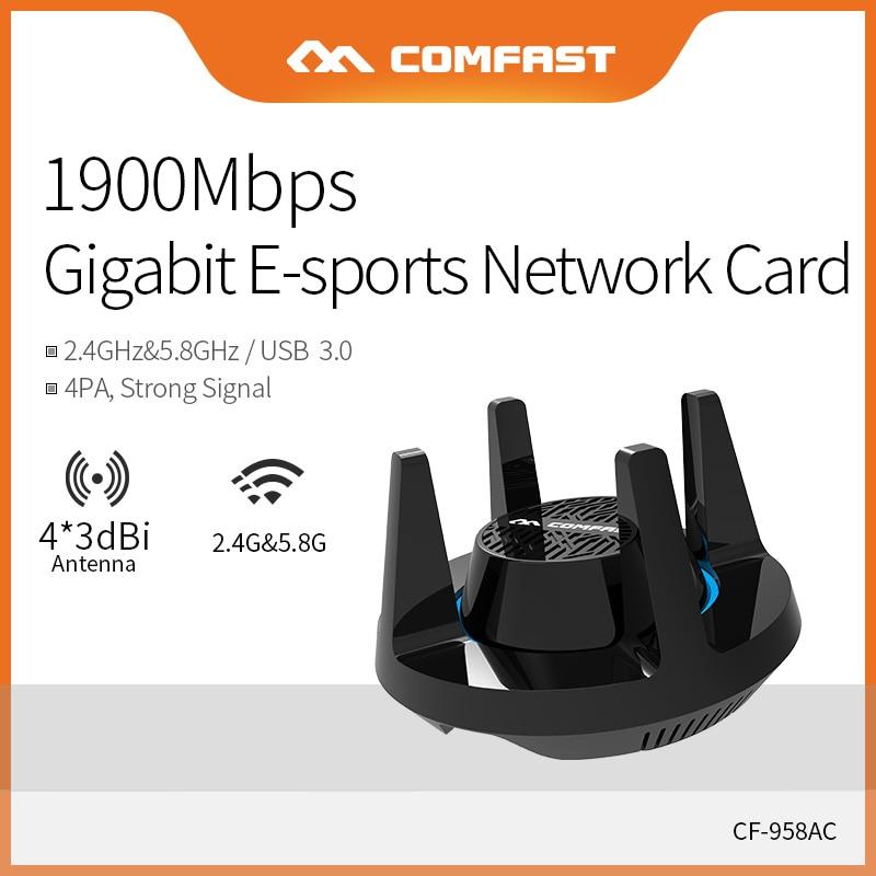 Comfast double bande 2.4 & 5.8 Ghz haute puissance PA Wifi adaptateur 1900 Mbps Gigabit e-sports carte réseau PC Lan Dongle récepteur CF-958AC