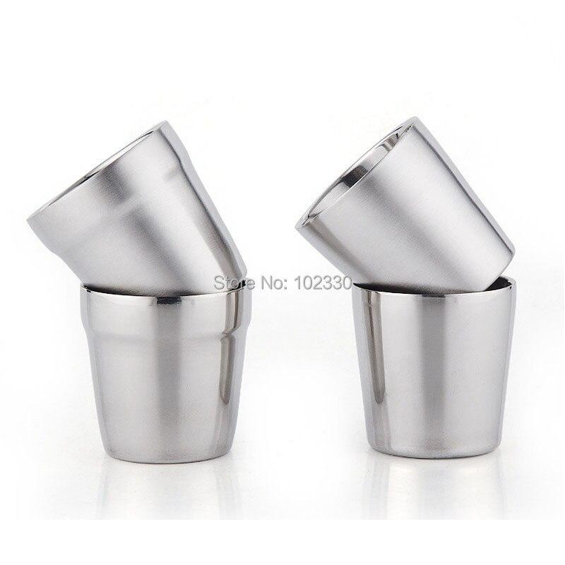 50 stücke 300 ml Doppel Schicht 304 Edelstahl Wasser Tasse Unzerbrechlich Kaffee Tee Tassen für Camping Reise Hause-in Teetassen aus Heim und Garten bei  Gruppe 1