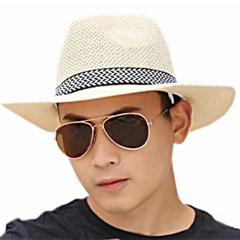 Men Unisex Summer Beach Straw Sun Hat Ethnic Vintage Extra Large Wide Brim Jazz Bucket Cap Hollow Out Twill Knitted Ribbon Beach