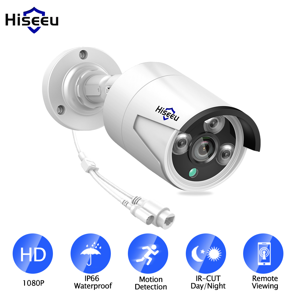 Hiseeu H.265 1080P POE IP Camera 2MP Bullet CCTV IP Camera ONVIF 2.0 for POE NVR System Waterproof Outdoor Night Vision