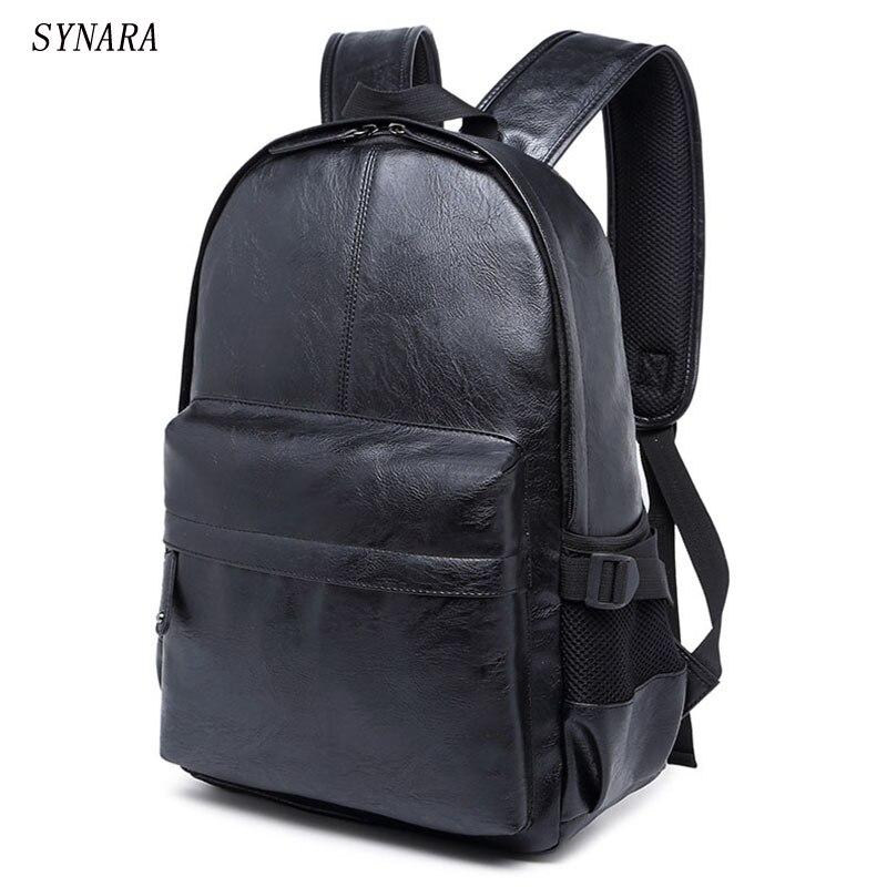 Men's Bags Preppy Style Leather School Backpack Bag For College Simple Design Large Capacity Laptop Black Brown Backpacks