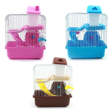 2 Floors storey Pet Hamster Cage Luxury House Portable Mice Home  with slide disk spinning bottle m004a cute lovely 2 floor pet house w slide runner waterer for hamster multicolored