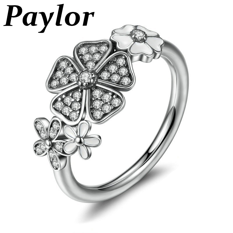 Paylor Fashion Silver Color White Flower Poetic Daisy Cherry Blossom Pandora Finger Ring for Women Engagement Jewelry