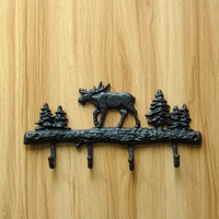 Vintage Metal Reindeer Bag Hook Ornamental Foundry Iron Christmas Tree Wall Hanging Clasp Ironwork Decor Handicraft Accessories