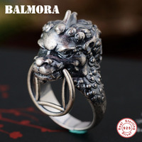 BALMORA 100 925 Sterling Silver Ancient Animal Open Rings For Men Vintage Thai Silver Ring Punk