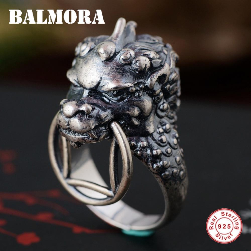 BALMORA 100% 925 argent Sterling ancien Animal anneaux ouverts pour hommes Vintage Thai bague en argent Punk Cool bijoux Anillos SY22090