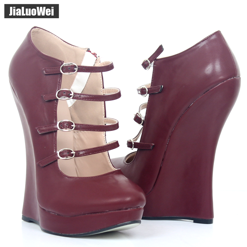 Women Sexy PU leather Stiletto Sandals Female Fashion High Heels Shoes Pumps Spring Summer Autumn party Wedges Plus Size 36 46 in High Heels from Shoes