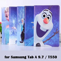 Case for galaxy Tab A 9.7 / T550 The White Snow Queen Ice Princesses cartoon Anna Elsa Olaf tablet Cover Flip stand shell coque