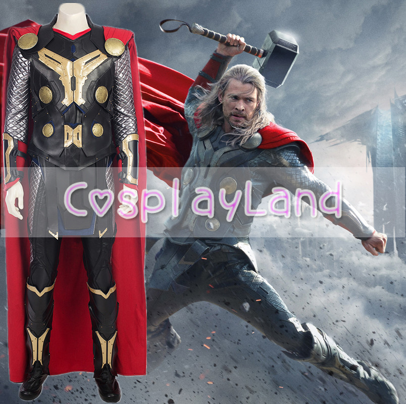 Hot Movie Thor 2 The Dark World Thor Cosplay Costume For Men Halloween Outfit Customize Thor Suit Costumes Free Shipping