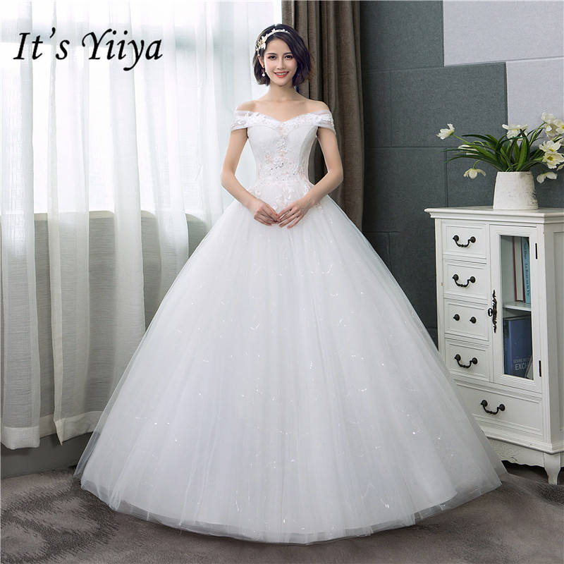 Cheap Wedding Dresses Colorado Springs: It's YiiYa Wedding Dress Sexy Boat Neck Simple Off White