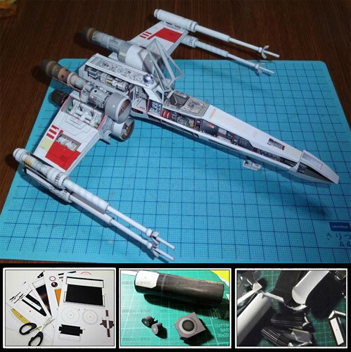 3D Paper Model Star Wars X WING X Fighter Airplane DIY Handmade Toy image