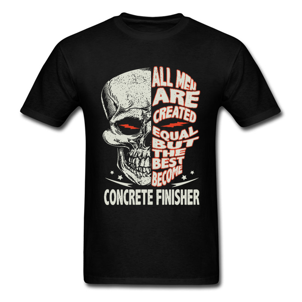 Skull-all-men-are-created-equal-but-the-best-become-bike- O Neck T-Shirt Summer Custom Tees Discount 100% Cotton T-shirts Mens Skull-all-men-are-created-equal-but-the-best-become-bike- black