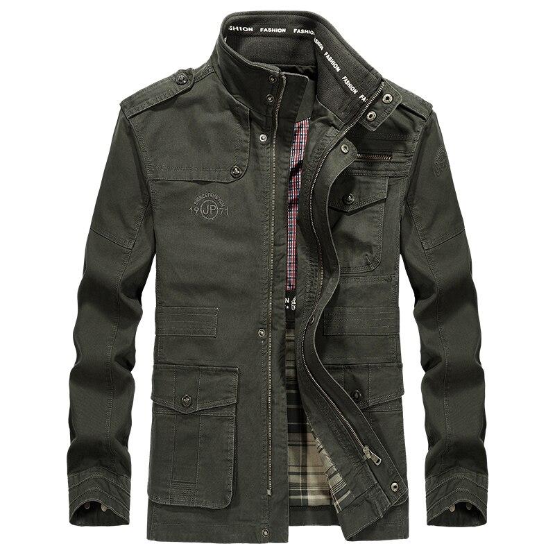 Talla grande 5XL 6XL 7XL 8XL marca AFS JEEP chaqueta militar hombres algodón Stand Collar bordado medio-largo chaqueta de otoño para hombre