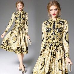 Women's Runway Shirt Dress Elegant Vintage Spring Autumn Jurken Christmas Robe Femme Buttons Long Sleeve Flower Dress Yellow 2