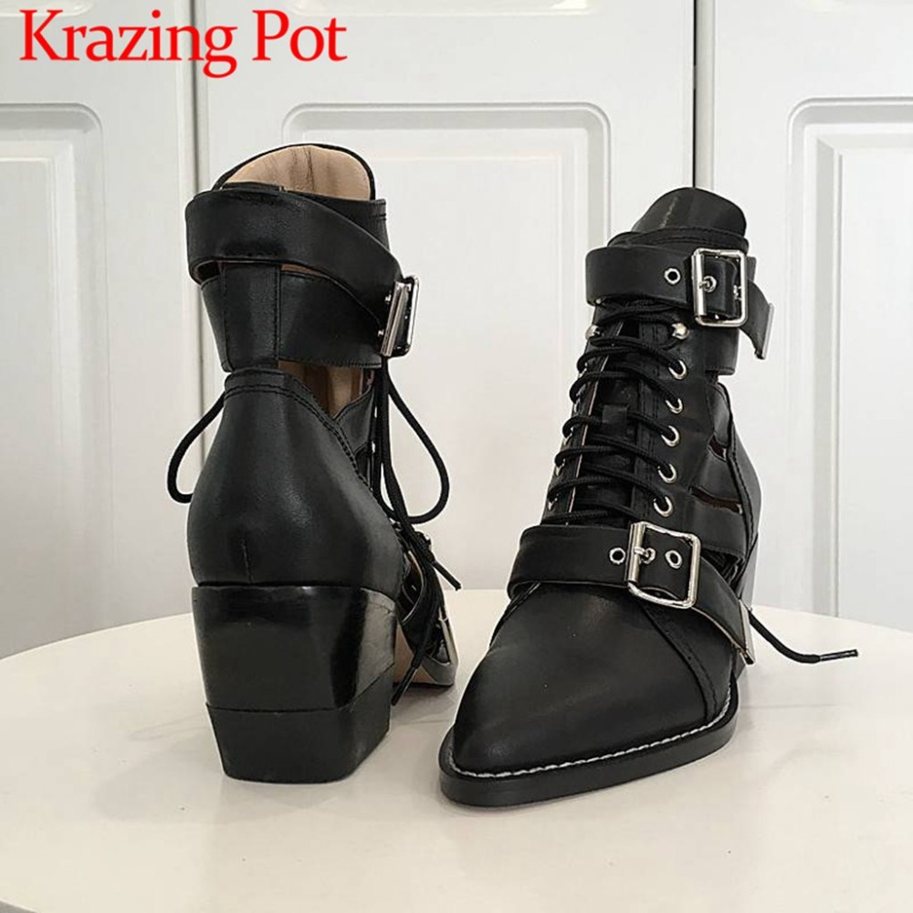 2018 rock style oxford pointed toe buckle strap thigh high heels natural leather short plush warmful