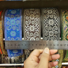 48mm wide ethnic ribbon Embroidered Webbing Polyester colorfast thin Muslim 1yard