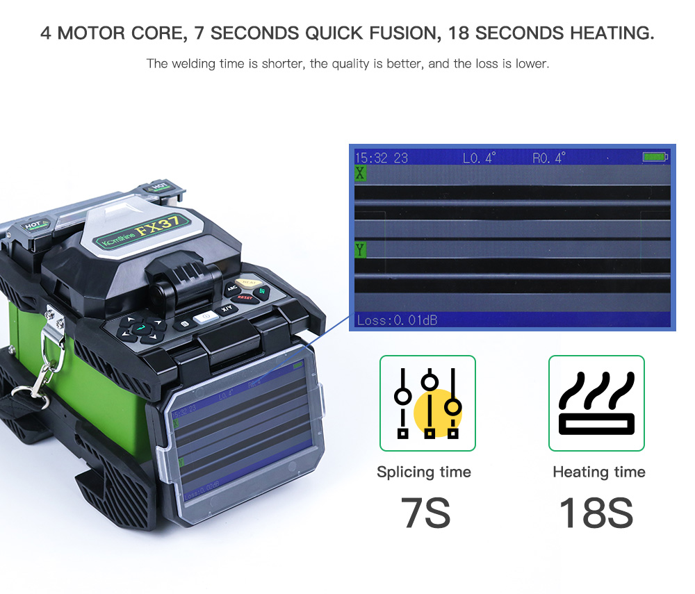 FTTH Precision Fusion Splicer Komshine FX37 with 0 02dB Splicing Loss as SUMITOMO TYPE 71C Fusion